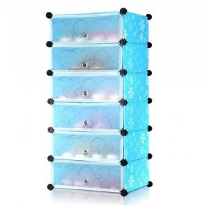 Tủ giày dép đa năng 6 ngăn Tupper Cabinet TC-6BL-W2 (Xanh cửa trắng)