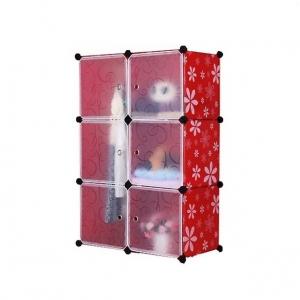 Tủ quần áo đa năng 6 ngăn Tupper Cabinet TC-6R-W2 (Đỏ phối trắng)