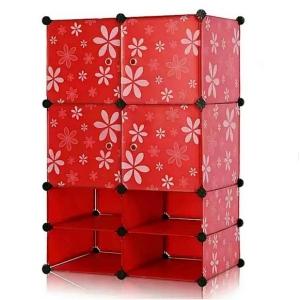 Tủ nhựa đa năng 8 ngăn 4 cửa Tupper Cabinet TC-8C4D-R (Đỏ)