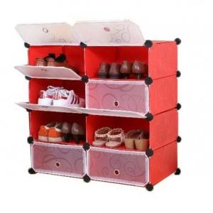 Tủ giày dép đa năng 8 ngăn Tupper Cabinet TC-8R-W (Đỏ cửa trắng)