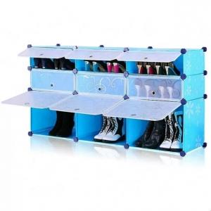 Tủ giày dép đa năng 9 ngăn Tupper Cabinet TC-9BL-W ( xanh cửa trắng)