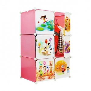 Tủ quần áo đa năng 6 ngăn Tupper Cabinet TC-6P-C1 (Hồng cửa hoạt hình)