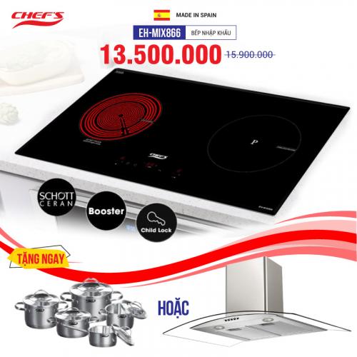 Bếp từ đôi hồng ngoại cảm ứng CHEFS EH-MIX866