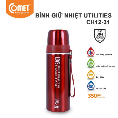 Bình giữ nhiệt Utilities 350ml Comet CH12-31 - Đỏ