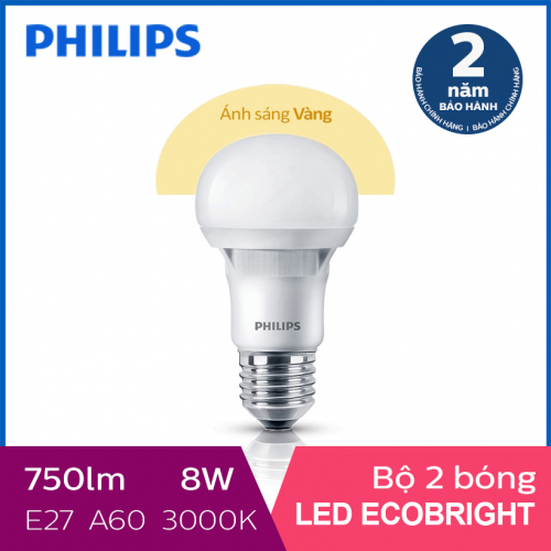 Bộ 2 Bóng đèn Philips LED Ecobright 8W 3000K E27 A60 - Ánh sáng vàng-1
