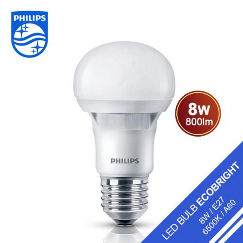 Bộ 2 Bóng đèn Philips LED Ecobright 8W 6500K E27 A60 - Ánh sáng trắng-2