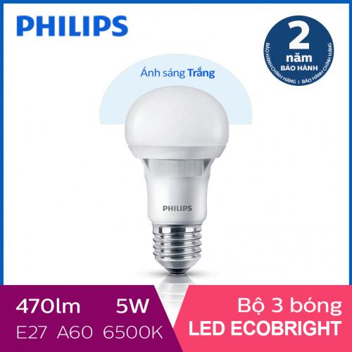 Bộ 3 Bóng đèn Philips LED Ecobright 5W 6500K E27 A60 - Ánh sáng trắng-2