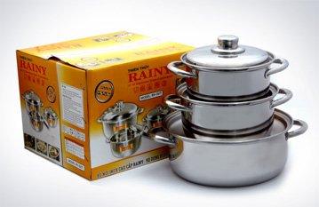Bộ 3 nồi inox 3 đáy Rainy RN-06H-1