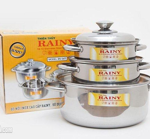 Bộ 3 nồi inox 3 đáy Rainy RN-06H-2