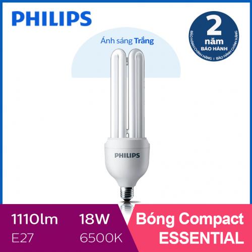 Bóng đèn Compact 3U tiết kiệm điện Philips Essential 18W 6500K E27 - Ánh sáng trắng-2