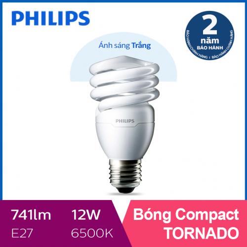 Bóng đèn Compact xoắn tiết kiệm điện Philips Tornado 12W 6500K E27- Ánh sáng trắng