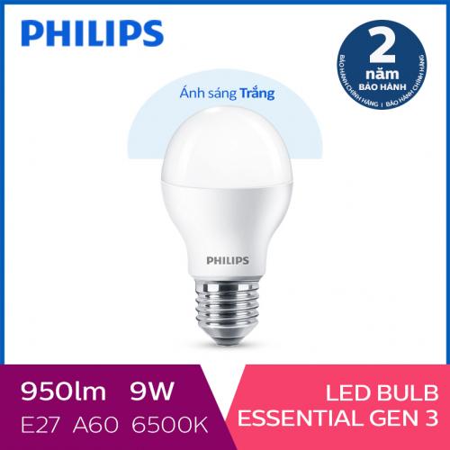 Bóng đèn Philips LED Essential Gen3 9W 6500K E27 A60 - Ánh sáng trắng