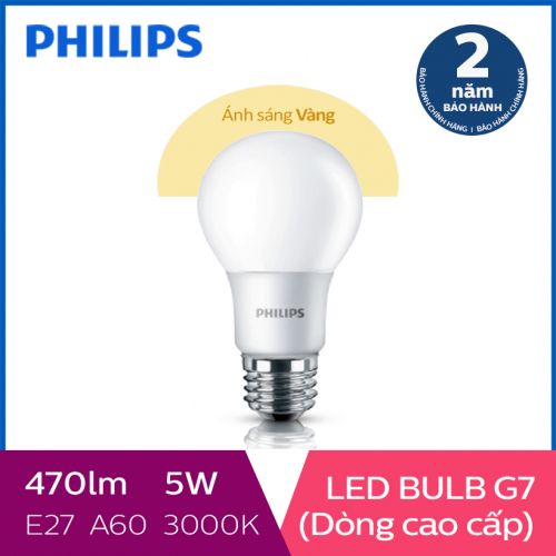 Bóng đèn Philips LED Gen7 5W 3000K E27 A60 - Ánh sáng vàng