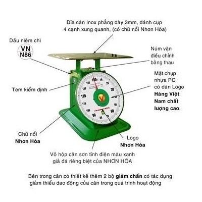 Cân đồng hồ lò xo Nhơn Hòa 12Kg CĐH-12-3