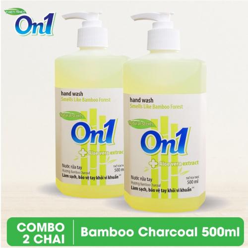 COMBO 2 chai Nước rửa tay sạch khuẩn On1 500ml hương BamBoo Charcoal - 2-RT504
