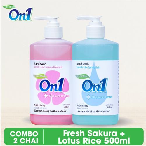 Combo 2 chai Nước rửa tay sạch khuẩn On1 500ml - RT501 + RT500