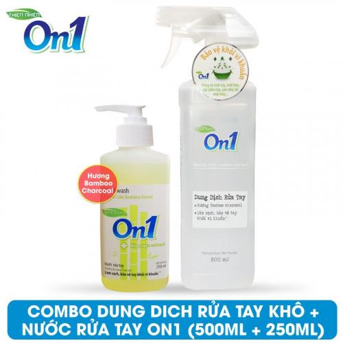 COMBO Dung dịch rửa tay khô On1 500ml + Nước rửa tay On1 250ml - Combo 34-2