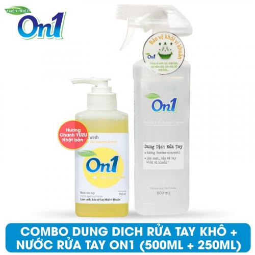 COMBO Dung dịch rửa tay khô On1 500ml + Nước rửa tay On1 250ml - Combo 34-1
