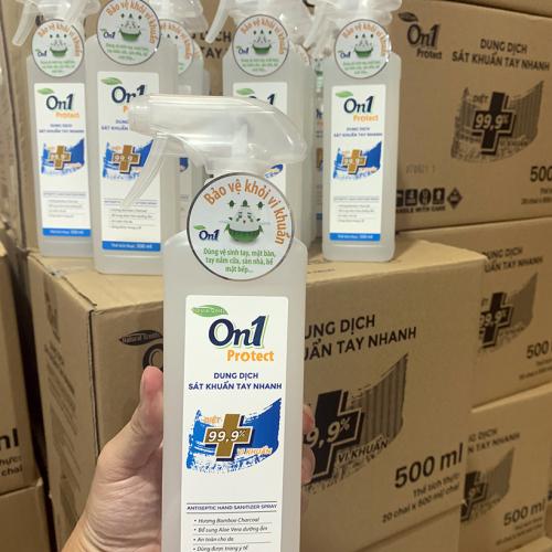Dung dịch sát khuẩn tay nhanh On1 Protect hương BamBoo Charcoal chai xịt 500ml C0202 -6