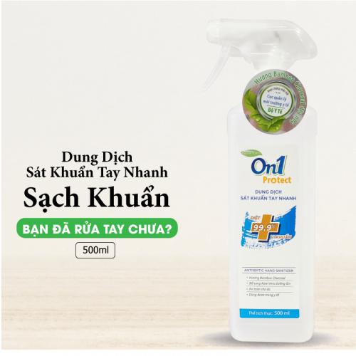 Dung dịch sát khuẩn tay nhanh On1 Protect hương BamBoo Charcoal chai xịt 500ml C0202 -3