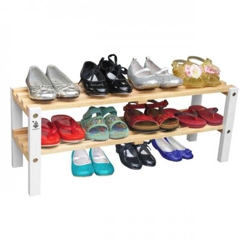 Kệ giày trẻ em 2 tầng chân màu trắng Gỗ Đức Thành 48372K-1