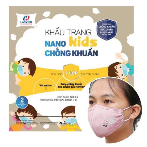 Khẩu trang kháng khuẩn NANO bạc HANVICO KIDS trẻ em  (Bộ 2 chiếc)