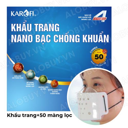 Khẩu trang siêu kín kháng khuẩn 4 lớp NANO bạc KAROFI + 50 Màng lọc