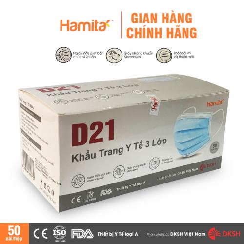 Khẩu trang y tế 3 lớp kháng khuẩn, kháng giọt bắn HAMITA D21