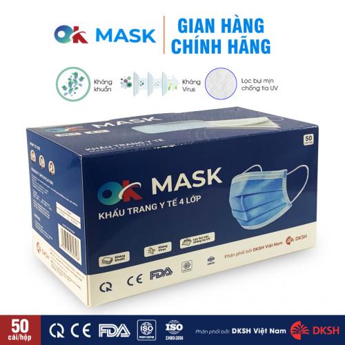 Khẩu trang y tế 4 lớp kháng khuẩn, kháng giọt bắn OK MASK Nam Anh