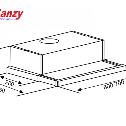 Máy hút mùi âm tủ bếp 6 tấc Canzy CZ-6002-2