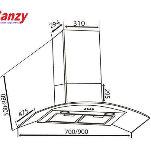 Máy hút mùi bếp kính cong 7 tấc CANZY CZ-70D2-3