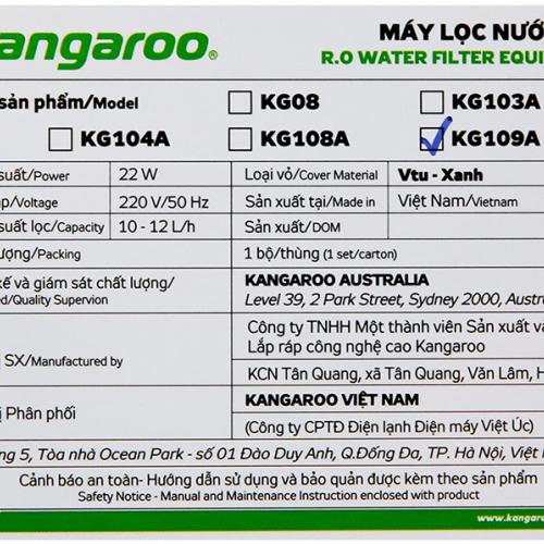 Máy lọc nước RO KANGAROO KG109A (9 cấp lọc - Bao gồm tủ cường lực)-2