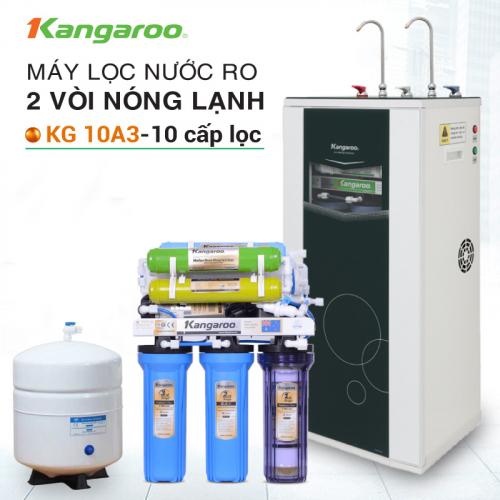 Máy lọc nước RO nóng lạnh 2 vòi KANGAROO KG10A3 (10 cấp lọc - Bao gồm tủ cường lực)