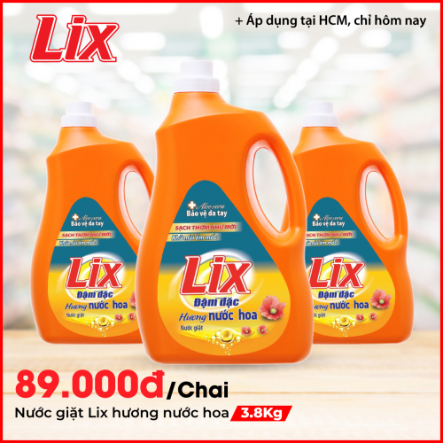 Nước giặt Lix hương nước hoa 3.8Kg - Tẩy sạch cực mạnh vết bẩn