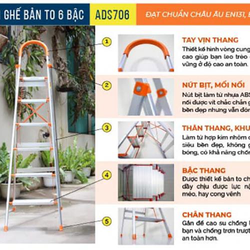 Thang nhôm ghế 6 bậc xếp gọn Advindeq ADS706-5