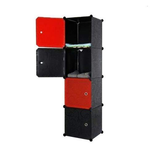 Tủ nhựa đa năng 4 ngăn Tupper Cabinet TC-4B-R (Đen phối đỏ)