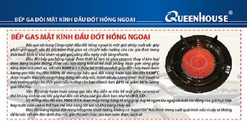Bếp gas hồng ngoại Queenhouse QH-2525 - Điếu Inox